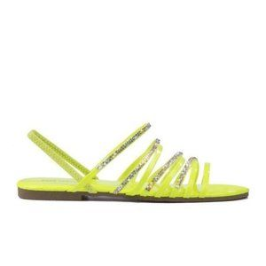 Neon Yellow Embellished Strappy Slingback Sandal